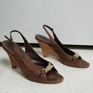 PRADA espadrille wedges brown leather sandal